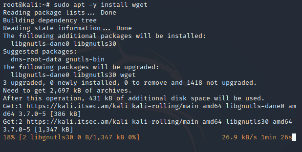 install wget in kali linux
