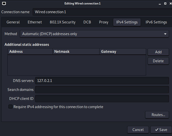 Automatic (DHCP) addresses